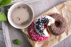 Donuts and cup of coffee Royalty Free Stock Photography