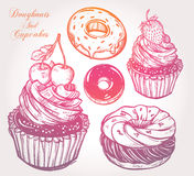 Donuts and cupcakes set. Stock Photo