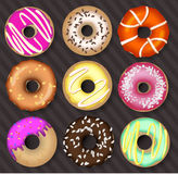 Donuts dark background Stock Photography