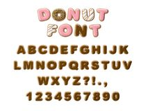 Donuts decorative font glazed sweet letters and numbers. Cute design. 3D illustration royalty free stock photography