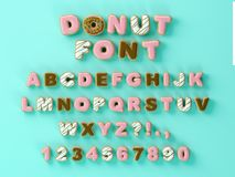 Donuts decorative font glazed sweet letters and numbers. Cute design. 3D illustration royalty free stock photo