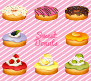 Donuts in different flavor Royalty Free Stock Photography