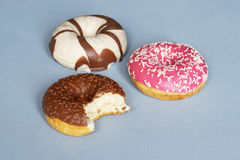 Donuts with different icing Stock Photos
