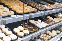 Donuts On Display At Grocery Store Stock Images