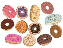 Donuts doodle сахара сливк притяжки руки мультфильма кафе искусства сладких установленное иллюстрация вектора