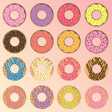Assorted Donuts Set. Set of 12 different doughnuts or donuts Stock Photography
