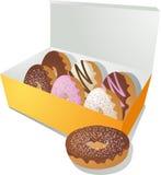 Donuts in een doos Royalty-vrije Stock Foto's