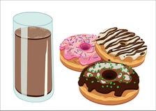 Donuts en chocolademelk Royalty-vrije Stock Foto