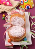 Donuts and festive decoration Royalty Free Stock Photos