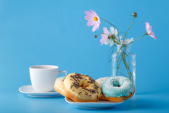 Donuts with flowers Stock Image