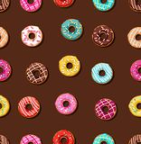 Donuts with frosting, background, seamless, brown. Royalty Free Stock Images