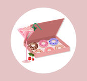 Donuts in a gift box Vector dessert flavored illustration Stock Photos