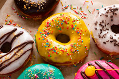 Donuts in glans dichte omhooggaand Stock Foto