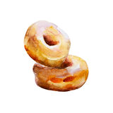 The donuts with glaze isolated on white background, watercolor illustration. Set in hand drawn style Vector Illustration