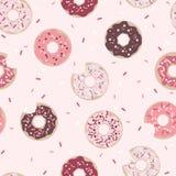 Donuts Grafisch Naadloos Patroon op Roze Achtergrond royalty-vrije illustratie
