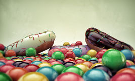 Donuts and gumballs Royalty Free Stock Images