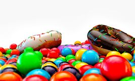 Donuts and gumballs. Isolated on white background Royalty Free Stock Image