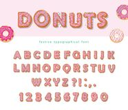 Donuts hand drawn decorative font. Cartoon sweet letters and numbers. Cute design for girls. Birthday party celebration. Vector Stock Images