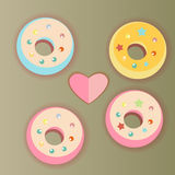 Donuts and heart Royalty Free Stock Photography