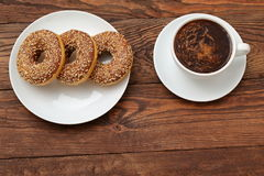 Donuts. With a hole in it has a sweet treat for lunch or afternoon tea Stock Photo