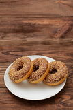Donuts. With a hole in it has a sweet treat for lunch or afternoon tea Royalty Free Stock Photography