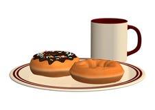 Donuts i filiżanka kawy Obrazy Royalty Free
