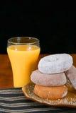 Donuts i sok pomarańczowy Fotografia Stock