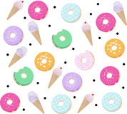 Donuts and Ice cream pattern Vector dessert flavored illustration Stock Photos