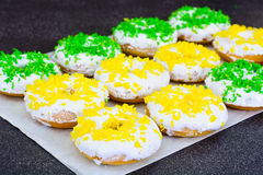 Donuts with Icing and Coconut Protein-Grained Color Royalty Free Stock Photography