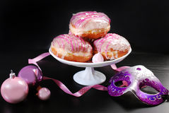 Donuts with icing glaze for carnival party Royalty Free Stock Photos