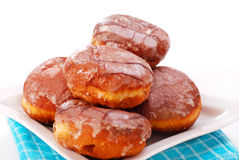 Donuts with icing isolated on white Stock Images