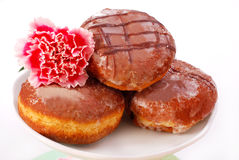 Donuts with icing isolated on white Royalty Free Stock Images