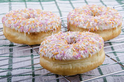 Donuts with icing sugar and colored sprinkles Royalty Free Stock Photos