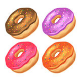 Donuts with icing on a white background. Stock Photos