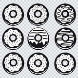 Donuts icons with different fillings on transparent background Royalty Free Stock Images