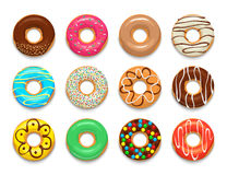 Donuts icons set, cartoon style Stock Images