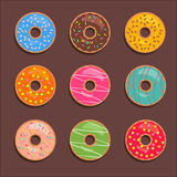 Donuts icons set. Donuts set for match three game. Vector flat donut icons royalty free illustration