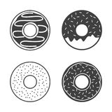 Donuts icons set  on white background. Yummy cookie food Stock Photography