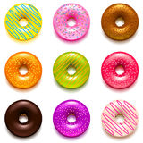 Donuts icons vector set Royalty Free Stock Photography