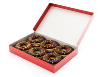 Donuts inside the red box. 3D illustration. Donuts inside the red box  on white background. 3D illustration Stock Photos
