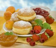 Donuts with jam filling Stock Photos