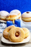 Donuts with jam Stock Photos