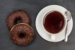 Donuts Läcker efterrätt för te textur planlägg ditt härligt brigham arkivbild
