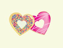 2 donuts linked to show a couple in love. Cartoon illustration of donuts with icing and sprinkles Stock Images
