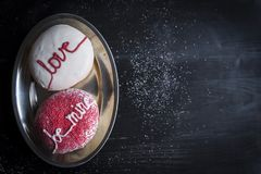 Be mine and love signs. Donuts with love and be mine sign served,blank space and selective focus Royalty Free Stock Images