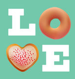Donuts love valentine concept vector design Royalty Free Stock Photos