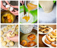 Donuts making collage. Six photos Royalty Free Stock Images