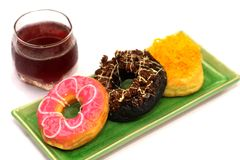 Donuts are many flavors very delicious. Stock Photography