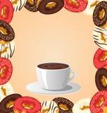 Donuts med koppen kaffe på beiga royaltyfri illustrationer