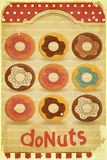 Donuts Menu on vintage background Stock Image